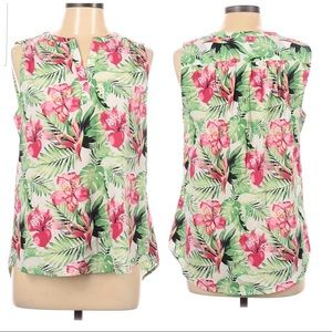 Dalia tropical floral print white green blouse S